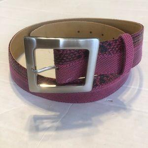 Women's Pink / Raspberry Snakeskin Leather Silver